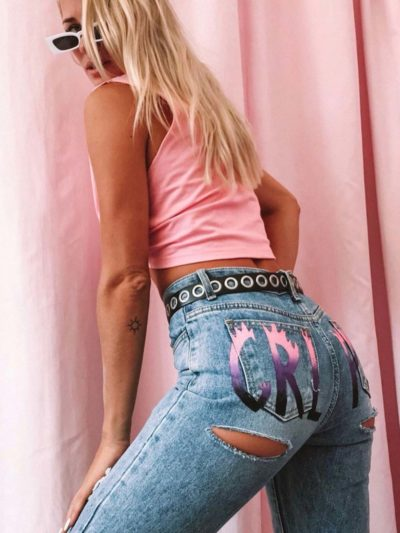 Girl Power Flame Mom Jeans – Light Blue W/ Pink