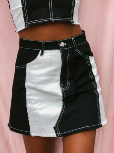 Elisha Denim Mini Skirt -Black/White